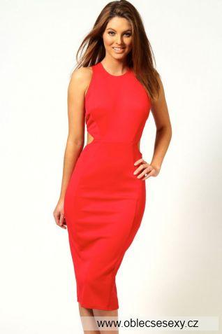 Červené levné šaty ke kolenům bez rukávů Kate