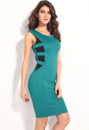 Modré šaty bez rukávů a ke kolenům Tira