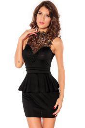 Černé krátké peplum šaty bez rukávů s krajkovým dekoltem Dona
