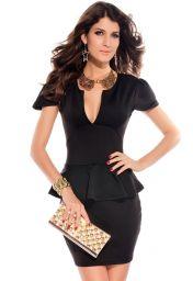 Černé krátké šaty peplum s výstřihem a krátkými rukávy Joi