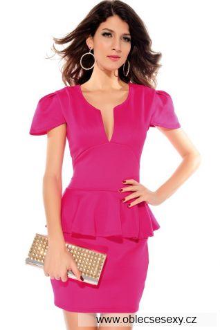 Růžové krátké šaty peplum s výstřihem a krátkými rukávy Joi