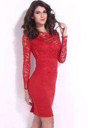 Červené krajkové šaty ke kolenům Sisi