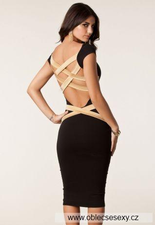 Černé levné midi šaty s pruhy na zádech