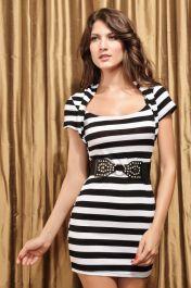 Pruhované šaty s páskem