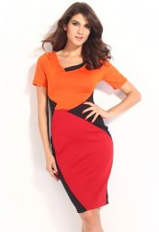 Šaty ke kolenům s krátkými rukávy oranžová červená černá