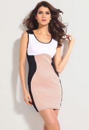 Levné šaty kontrastních barev bez rukávů délky na stehna