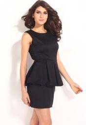 levné černé peplum šaty s holými zády a délkou na stehna
