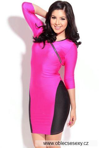 Růžovo černé přiléhavé šaty