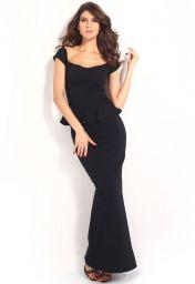 Levné černé společenské šaty peplum