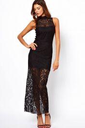 Černé dlouhé krajkové šaty