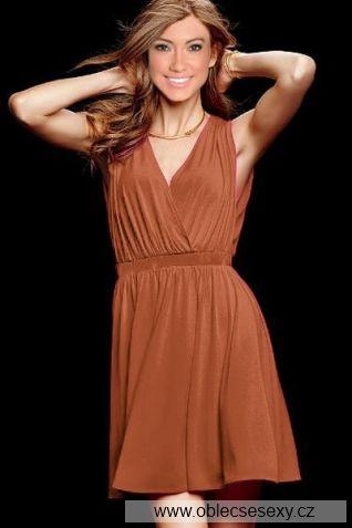 Levné hnědé letní šaty