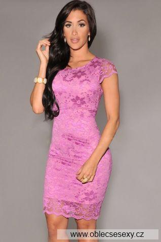 Růžové krajkové šaty je kolenům Flora