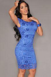 Modré krajkové šaty je kolenům Flora
