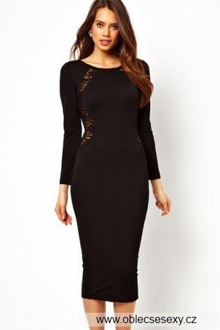 Černé midi šaty s dlouhými rukávy Elegant