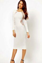 Bílé midi šaty s dlouhými rukávy Elegant