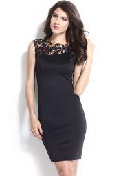 Midi koktejlové černé šaty