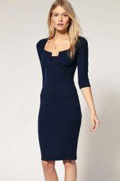 Tmavě modré šaty ke kolenům Blanka