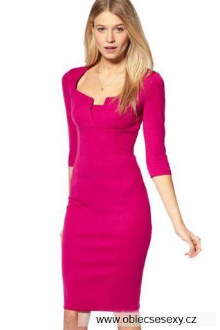 Růžové šaty ke kolenům Blanka