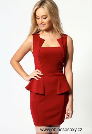 Levné červené párty peplum šaty