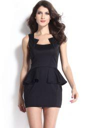Levné černé párty peplum šaty