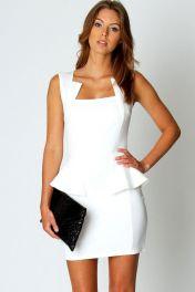 Levné bílé párty peplum šaty