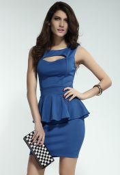 Koktejlové šaty modré peplum