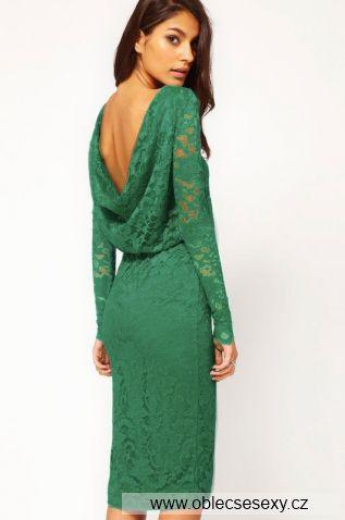 Zelené krajkové midi šaty