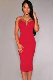 Červené levné přiléhavé šaty s hlubokým výstřihem