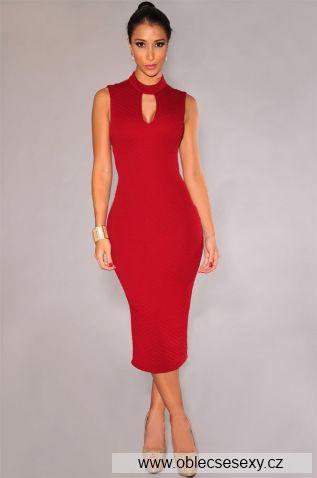Levné červené sexy koktejlové šaty Lucinda
