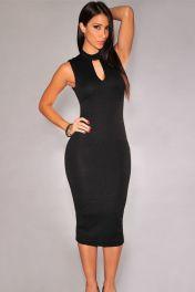 Levné černé sexy koktejlové šaty Lucinda