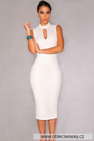Levné bílé sexy koktejlové šaty Lucinda