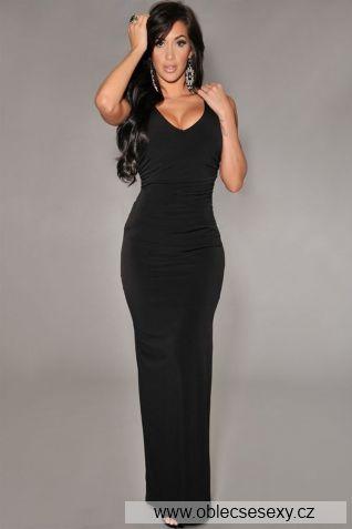 Levné černé dlouhé šaty Delice