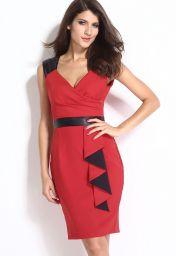 Červeno černé sexy letní midi šaty