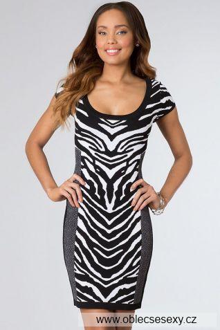 Koktejlové šaty zebra