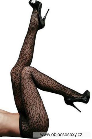 Černé leopard síťované punčocháče