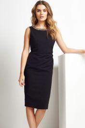 Černé elegantní midi šaty s V zády