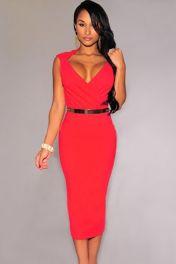 Midi červené šaty bez rukávů s páskem