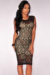 Levné krajkové midi šaty