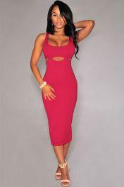 Červené módní midi šaty
