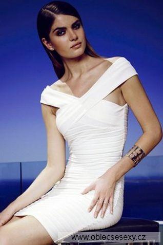 Levné bílé krátké šaty s překřížením