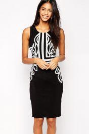 Černobílé midi šaty bez rukávů Marion