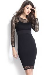 Černé midi síťované šaty