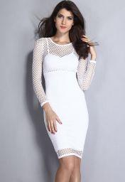 Bílé midi síťované šaty