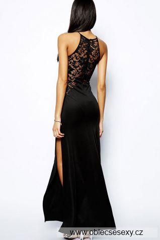 Černé dlouhé levné šaty s rozparkem