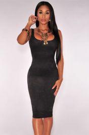 Levné černé semiš midi šaty bez rukávů