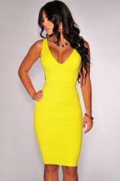 Dámské žluté sexy midi šaty