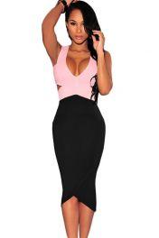 Midi šaty růžový vršek černý spodek
