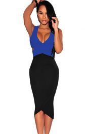 Midi šaty modrý vršek černý spodek
