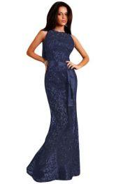 Tmavě modré dlouhé krajkové šaty