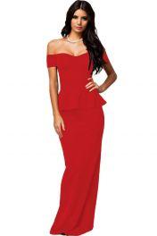 Červené dlouhé peplum šaty
